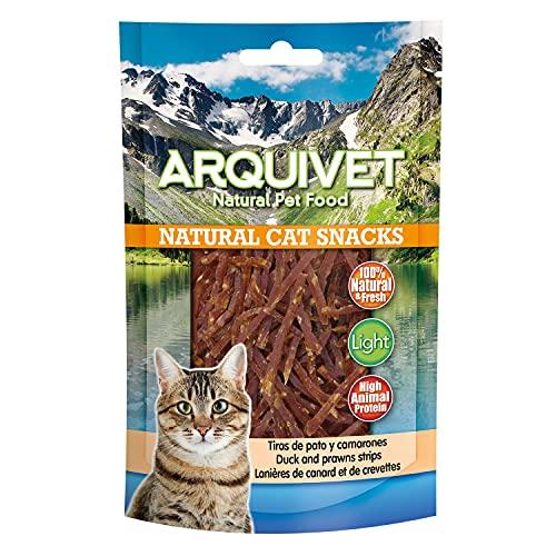 ARQUIVET Tiras de Pato y camarones Pack 24 Unidades x 50 gr - Natural Cat Snacks, Snacks para Gatos 100% Naturales - Chuches, premios, golosinas y recompensas para felinos