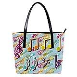 LORVIES Colorful Violin Key And Music Notes Set Bolso bandolera de piel sintética y bolsos de mano para mujer