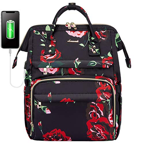 Backpack Womens Laptop 15.6 Inch, LOVEVOOK Waterproof Computer Rucksack with USB Port, School Bags for Teenager Girl, College Travel Business Rose Flower
