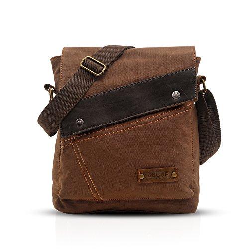 FANDARE Vintage Mensajero Messenger Bag Crossbody Bolso Bandolera Shoulder Bag Estudiante Viaje Trabajo Escuela Bolso Hombre Mujer Lona Marrón