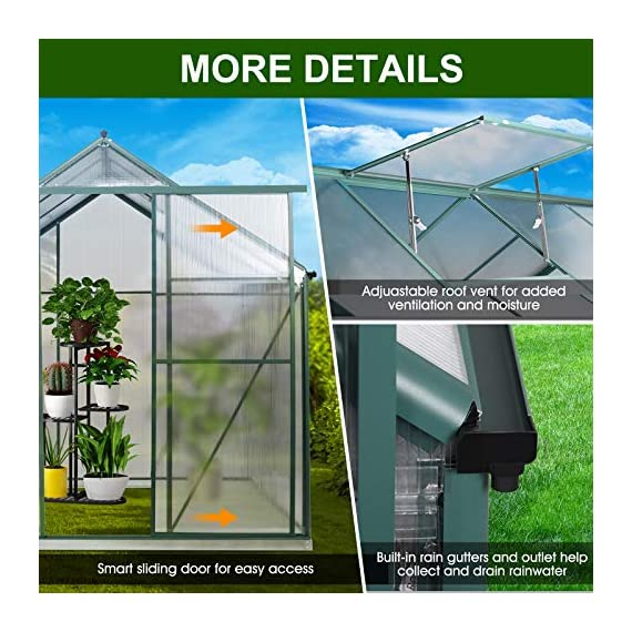 July's song greenhouse,polycarbonate walk-in plant greenhouse with window for winter,garden green house kit for backyard… 2 【extend the growing season】perfect for a first-time or seasoned home gardener, july's song walk-in greenhouses protect plant against rough weather. You can make sure that your plants are healthy and happy all year round. 【sturdy & durable】this diy greenhouse kit is made of 4mm twinwall uv/wind resistant polycarbonate panels and thickened premium aluminum frame,all this together with heavy-duty galvanized base help provide solid support for your entire plant nursery. 【multi-function design】the greenhouse for outdoor has sliding doors for easy access, roof vent for effortless ventilation, and rain gutters for effective drainage of water and snow.