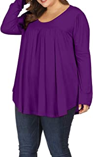 Allegrace Women Plus Size Casual Pleated Long Sleeve Blouse Top Round Neck Flowy T Shirts