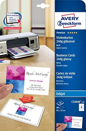 AVERY Zweckform C32028-10 Premium Visitenkarten (80 Stück, 85 x 54 mm, beidseitig bedruckbar, 240 g, glänzend, 10 Blatt)