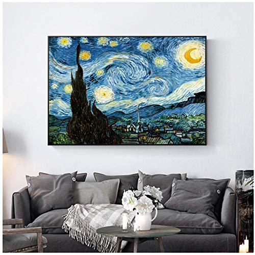 QYH Noche Estrellada de Vincent Van Gogh Artista Famoso Lámina y póster Imagen de la Pared Lienzo Pintura al óleo Decoración de la Pared del hogar-40X60Cm Sin Marco
