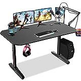 55 Inch Ergonomic Gaming Desk, T-Shaped PC Game Computer Desk Workstation, Home Office Gamer Desk, Professional Gaming Desk with Full Desk Mouse Pad, Cup Holder & Headphone Hook