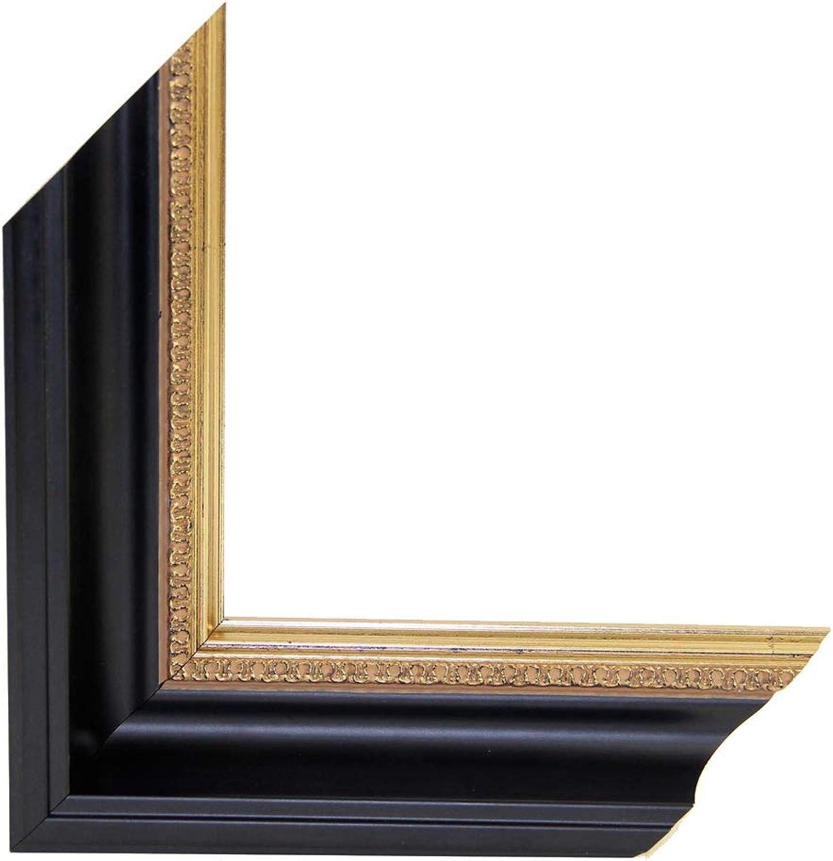 OLIMP-07 Bilderrahmen 65x125 cm Echtholz Barock in Farbe Schwarz Gold