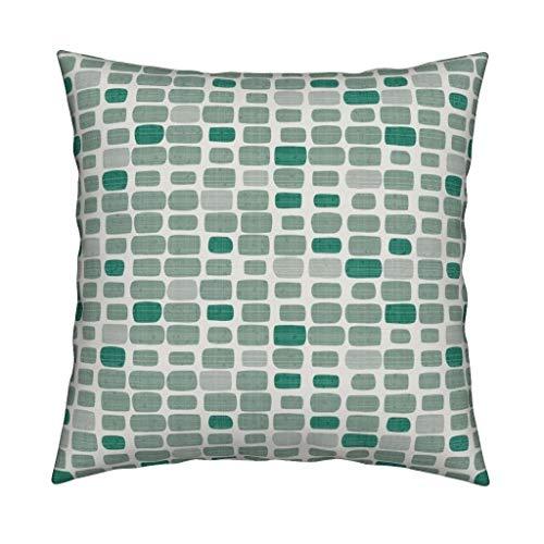 MUSTYDF Tegels Gooi Kussen Lieveheersbeestje Mozaïek Groen Geometrische 18x18 Vierkant Gooi Kussen