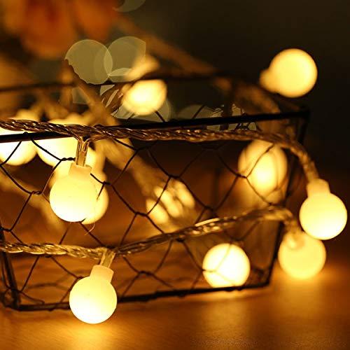 Fulighture - Luci a forma di globo da 4,9 m, 40 LED, alimentate tramite USB, per illuminazione interna ed esterna, per camera da letto, matrimoni, feste, Natale, festival, decorazione albero (bianco caldo 2700 K)