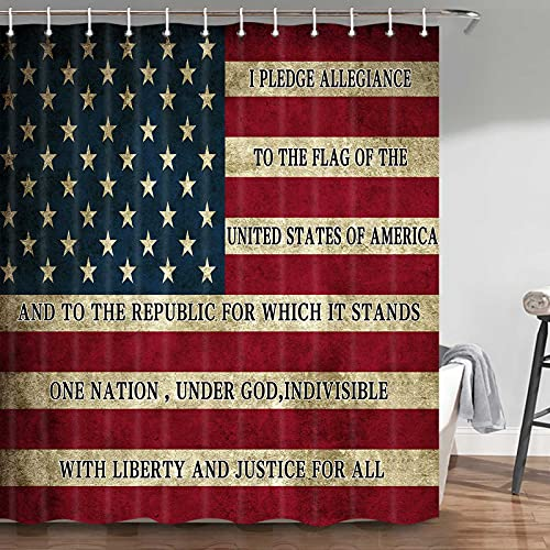 Duschvorhang, Motiv: amerikanische Flagge, 4. Juli, Independence Day, Kunstdruck, amerikanische Flagge, Duschvorhang-Haken, 177,8 cm