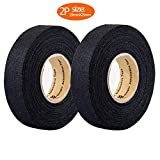 2 Rolls Automotive Wiring Harness Cloth Tape, High Temp Wire Harness Wrapping Tape, Black Adhesive Fabric Tape,Noise Damping Heat Proof (19MM × 25M)