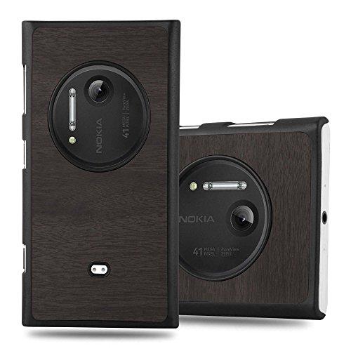 Preisvergleich Produktbild Cadorabo Hülle für Nokia Lumia 1020 - Hülle in Woody SCHWARZ Hardcase Handyhülle in Vintage Holz Optik - Schutzhülle Bumper Back Case Cover