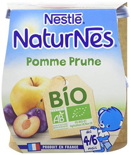 NESTLE NATURNES BIO Compotes Bébé Pomme Prune - Dès 4/6mois - 2x115g - Pack de 12 (24 Compotes)