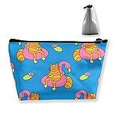 Divertido Gato Flamingo Swim Ring portátil de Viaje Bolsa de cosméticos de Almacenamiento Bolsa de Maquillaje de Moda con Cremallera Monedero Trapezoidal para Mujeres Hombres Viajes de Negocios