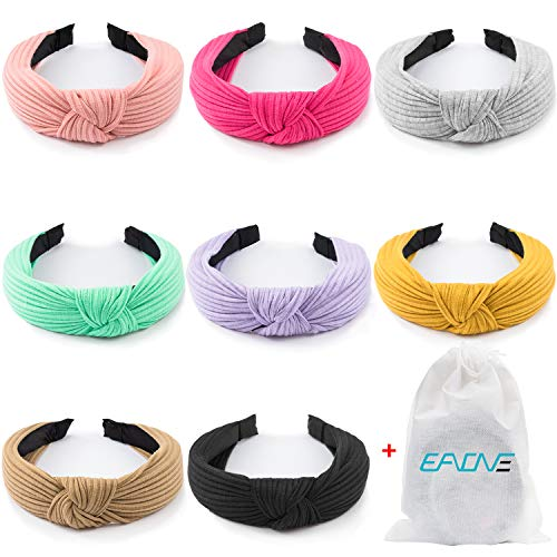 EAONE 8 Pieces Knot Headband, Knot Turban Headbands Knitted Elastic Wide Plain Headbands, Knotted Boho Headbands for Women and Girls, 8 Colors, with 1 PC Pouch Bag