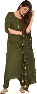 Style Amaze Women's Green Cotton Silk Semi Stitched Salwar Suit with Tassel Dupatta