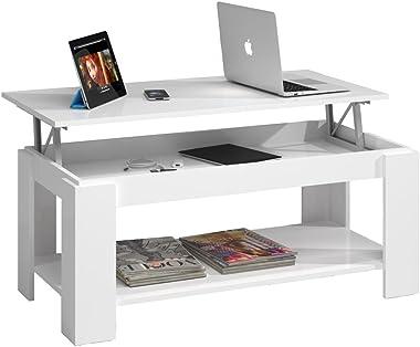 Mesa Centro con revistero, Mesa elevable, mesita Mueble Salon Comedor Acabado en Blanco Artik, Medidas: 102 cm (Largo) x 43/5
