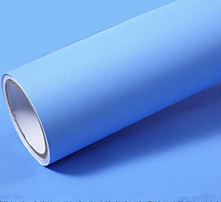 Solid Color Matte Textured Vinyl Peel and Stick Wallpaper Adhesive Paper Wallpaper Shelf Liner Home Decorative Paper,15.8inch by 79inch (Sky Blue)