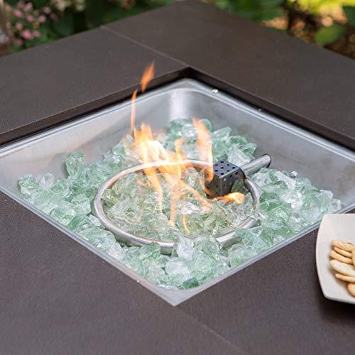 Hiland GSF-DGH Square ative Propane Fire Pit w/Lid, 40,000 BTU, Decorative Bronze