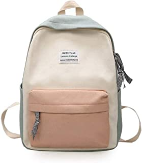 Xuendao Fashion Contrast Color Canvas Women Student Casual School Bag Travel Backpack Backpacks Men Laptop Water Resistant Computer Durable College Boys Girls Outdoor Camping
