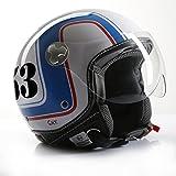 Motorradhelm Jethelm Rollerhelm CMX Cafer Racer 53 Weiß/Blau/Rot S
