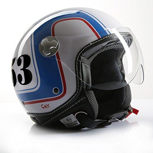 Motorradhelm Jethelm Rollerhelm CMX Cafe Racer 53 weiß/blau/rot L