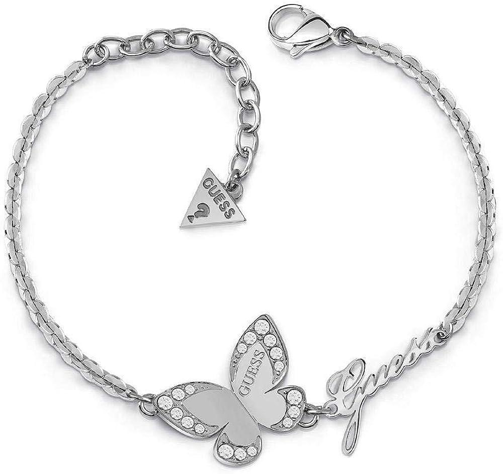 Guess, bracciale per donna, indovinate amore farfalla,in acciaio placcato rodio UBUBB78049-S