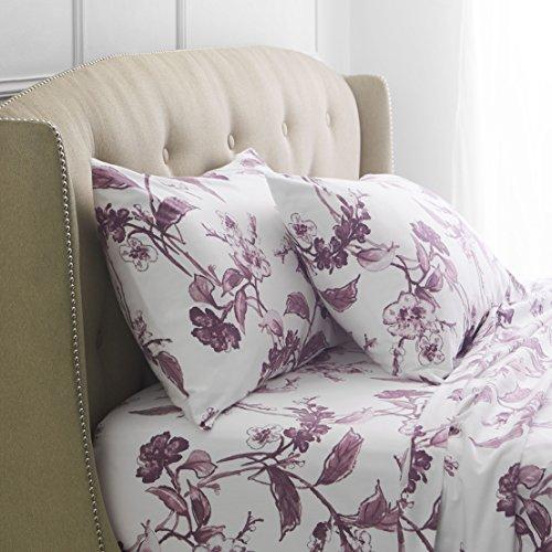 Pinzon Signature 190Gram 100% Cotton Heavyweight Velvet Flannel Bed Sheet Set King Floral Amethyst