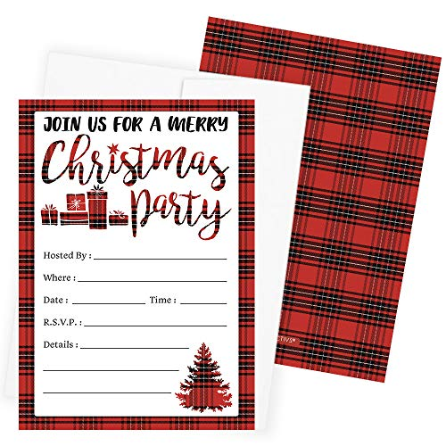Plaid Christmas Party Invitations - 12 Cards with Envelopes
