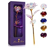 24K Colorful Rose - Rainbow Rose Flower Present Golden Foil with...