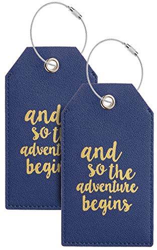Casmonal Luggage Tags with Full Back Privacy Cover w/Steel Loops (navy blue 02 pcs set)