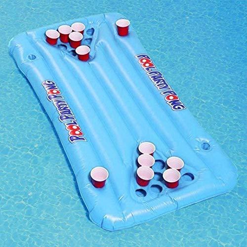 Beer Pong Luftmatratze Beerpong Tisch 145x60cm Aufblasbares Bierpong Luftmatratze Beerpong Tisch Partyspiel Trinkspiel Pool Lounge Raft für Männer Frauen