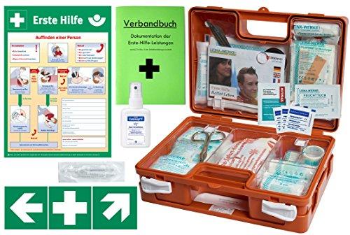 Erste-Hilfe-Koffer M1 -Komplettpaket - für Betriebe DIN/EN 13157 inkl. Hände-Antisept-Spray + 1. Hilfe Plakat + Aufkleber