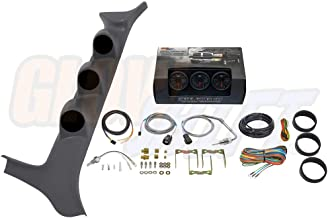 GlowShift Diesel Gauge Package for 1992-1997 Ford F-Series F-250 F-350 7.3L Power Stroke - Black 7 Color 60 PSI Boost, 1500 F Pyrometer EGT & Transmission Temperature Gauges - Gray Triple Pillar Pod