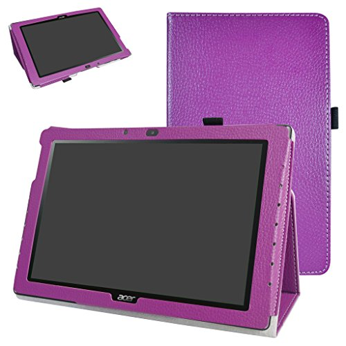 Mama Mouth Acer Iconia One 10 B3-A40 Case, PU Leather Folio 2-folding Stand Cover with Stylus Holder for 10.1' Acer Iconia One 10 B3-A40 Android Tablet PC,Purple