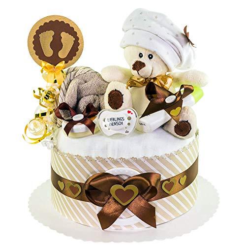 MomsStory - Windeltorte neutral | Teddy-Bär | Baby-Geschenk zur Geburt Taufe Babyshower | 1 Stöckig (Braun-Beige) Baby-Boy & Baby-Girl (Unisex) mit Plüschtier Schnuller & mehr