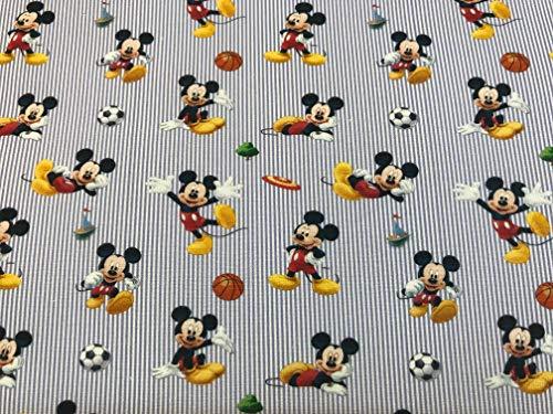 tela de disney mickey mouse rayas azules 100% algodón