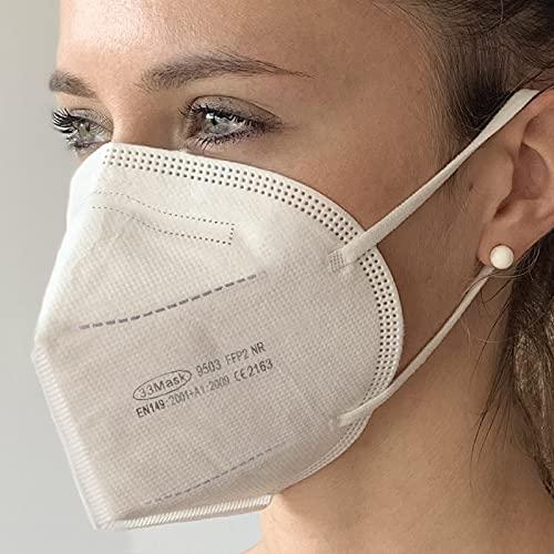 50 FFP2 Masken CE Zertifiziert, Mund- und Nasenschutz mit 4 Lagige Masken ohne Ventil, Staub- und Partikelschutzmaske, Schutzmaske mit Hoher BFE-Filtereffizienz ≥ 95, 5 Beuteln mit 10 Stück, 50 Stück