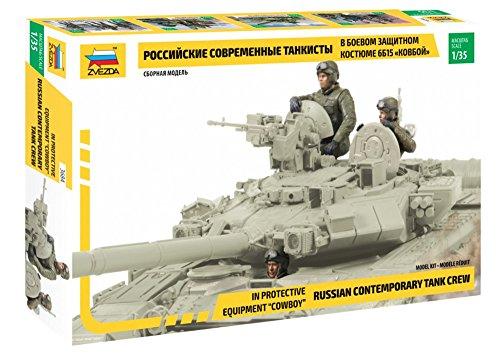 Zvezda 3684 500783684-1:35 Russian Contemporary Tank Crew - Juego de construcción de maqueta de plástico para Principiantes, detallado, sin Pintar