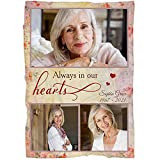 Memorial Blanket  Custom Deceased Photos  Always in Our Hearts  Remembrance Throw Blanket, Angel in Heaven, Memorial Sympathy Gift for Loss of Father, Mother  N1721 (30x40 inch)