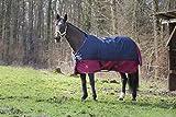 Outdoordecke TYREX 1200 D Equi-Theme 150 cm wasserdicht dunkelblau/weinrot mit Kreuzgurten | Pferdedecke