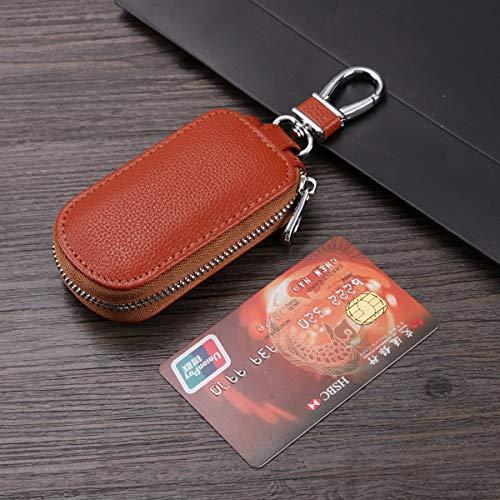 HEYEJET eTya Genuine Leather Car Key Wallets Men Key Holder Housekeeper Keys Organizer Women Keychain Covers Zipper Key Case Bag Pouch