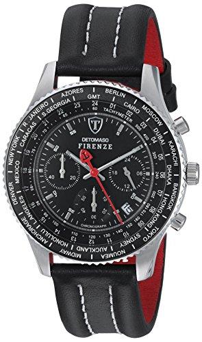 DETOMASO Herren-Uhr Firenze Chronograph mit Lederarmband und Mineral-Kristallglas. Klassische und wasserdichte Quarz-Uhr mit schwarzem Ziffernblatt