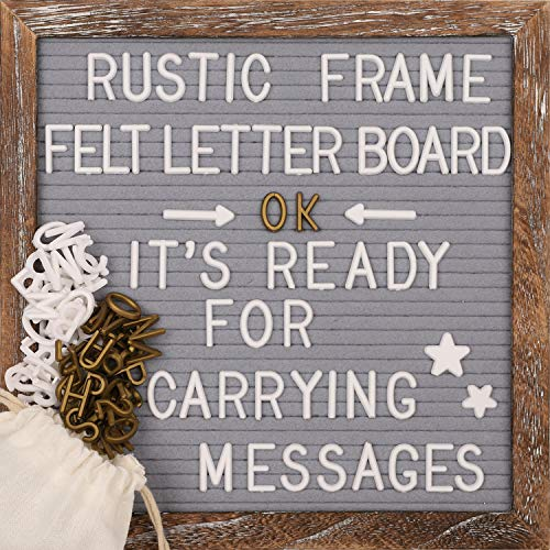 Awefrank Felt Letter Board 10x10 inches with Rustic Wood Frame, Precut Letters, Symbols, Cursive Words, Farmhouse Wall Decor, 2 Letter Bags, Vintage Stand, Gray Felt Message Board (Black)