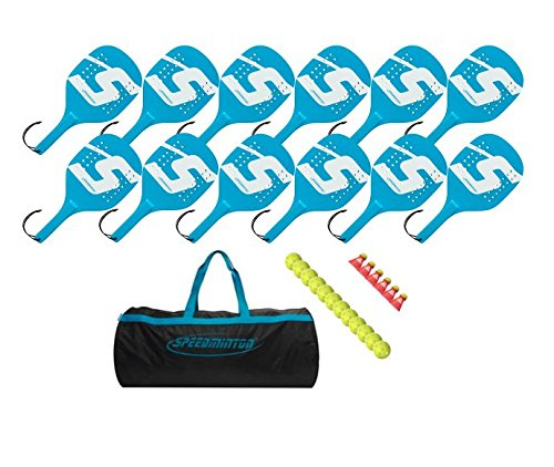 Speedminton Light and Durable Wooden Paddle 12 Player Set Easy Racket Game for Groups PE in Schools Camps and YMCAs  Comes with Balls and Birdies