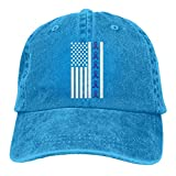 Ingpopol Men's Or Women's Adjustable Yarn-Dyed Denim Baseball Caps Ribbon Flag Colon Cancer Awareness Trucker Cap