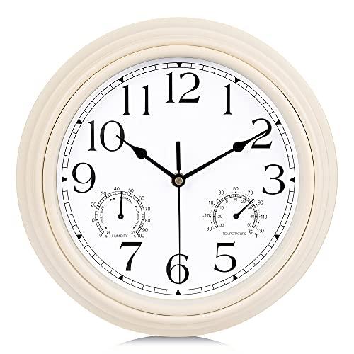 Lafocuse Reloj de Pared Silencioso Vintage con Termómetro e Higrómetro Reloj de...