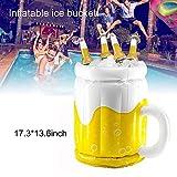 Aufblasbarer Eiskübel schwimmend tragbar, Sommerparty Eiskübel Getränkehalter, Becherförmiger Bierkühler, für Wasser Party Picknick Barbecue