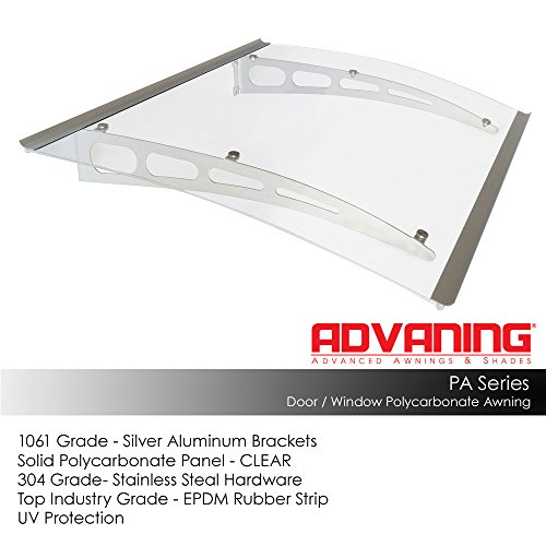 ADVANING DA5935-PSS1A PA Series, Premium Quality Crystal Polycarbonate Door/Window Awning Ideal for Rain, Snow and UV Protection, 59'W x 35'D, Clear/Silver Brackets