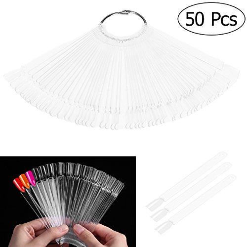 PIXNOR 50 piezas de arte de uñas Tips de color Sticks Pop pantalla ventilador práctica arranque anillo claro DIY