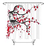 None brand Landschaftsmalerei Pflaume Blume Duschvorhänge Wasserdichter Polyester Stoff Bad Vorhang Bad Display-180 cm x 220 cm